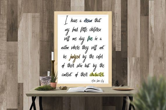 Quote Art Print Martin Luther King Inspiration Wall Art