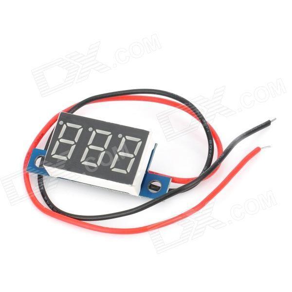 3-Digit Blue LED Panel Voltmeter for Electric Motorcycle (3.3V~17V)