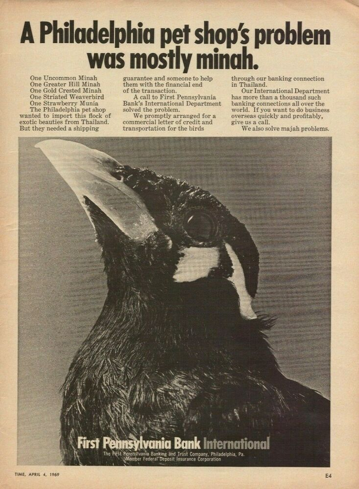 1969 First Pennsylvania Bank International Minah Bird Vintage
