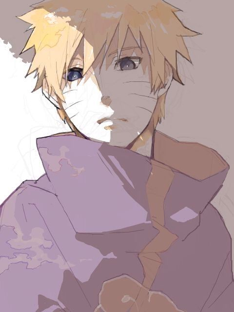 Naruto in the Akatsuki cloak.