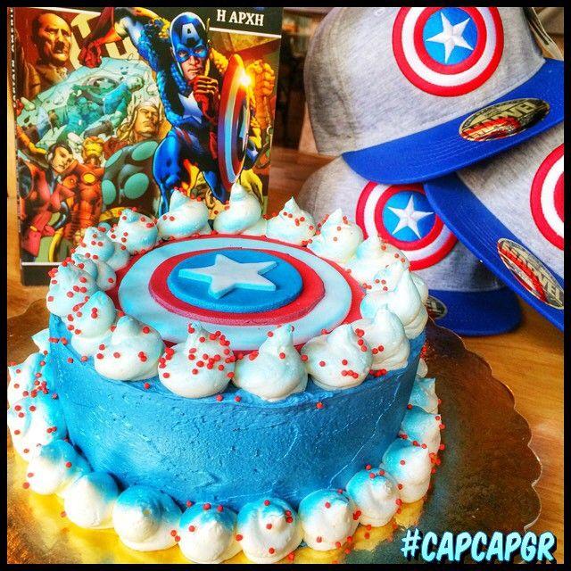 Captain America  Ο πρώτος Avenger έγινε κέικ με γεύση φουντουκι, βανιλια και είναι διαθέσιμο απο το καταστημα μας σε καθημερινή βάση!  Οι περιπέτειες του κυκλοφορούν απο τις εκδόσεις  anubis.gr τις οποίες μαζι με πολλα ακόμα αντικείμενα μπορείτε να βρείτε στα ράφια μας!