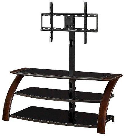 "Whalen Malibu 3-in-1 Flat Panel TV Stand Black/Brown 54"""