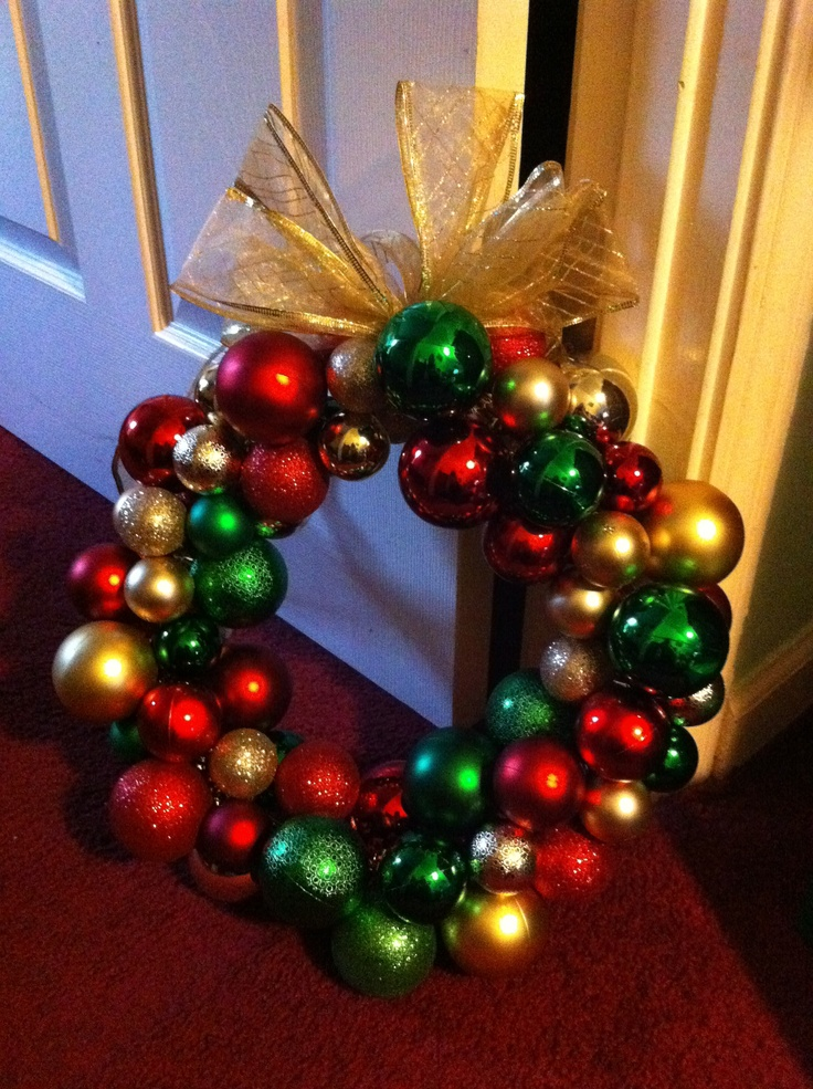 DIY Christmas wreath. Dollar store ornaments strung