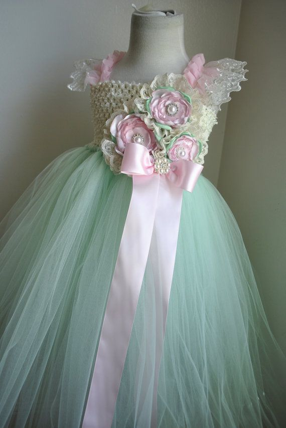 Mint and Light Pink Vintage Inspired with Lace accents flower girl tulle tutu dress infant to girls