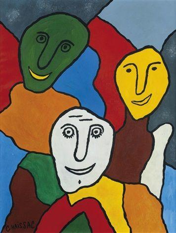 Composition à trois têtes aux visages souriants by Gaston Chaissac
