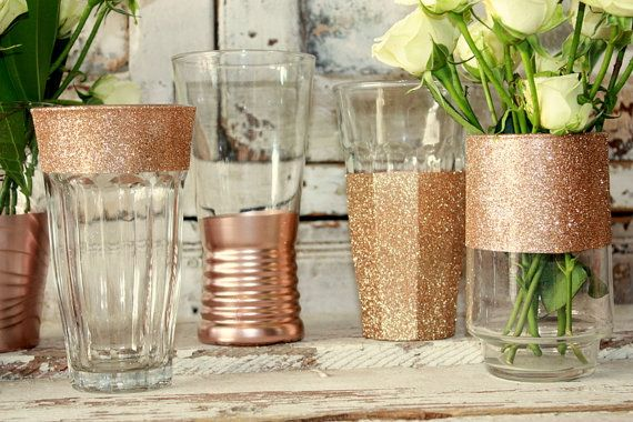 36 rose gold dipped vases rose gold glitter by thepaisleymoon