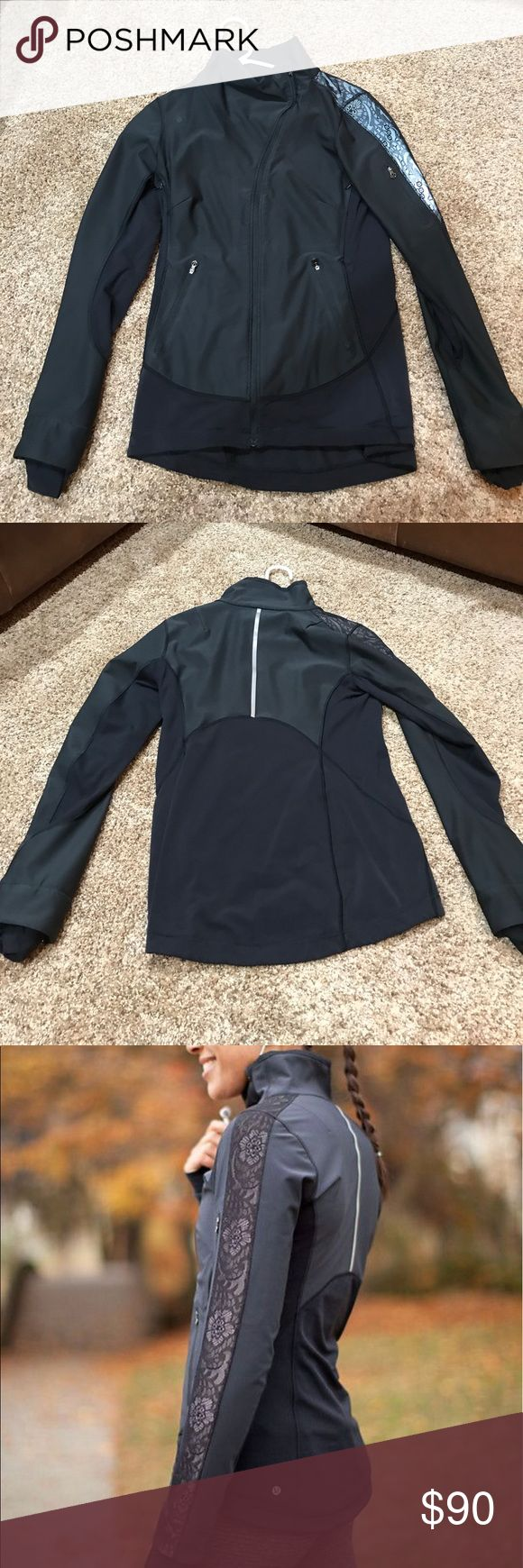 Lululemon reflective Draft Dodger jacket Great condition no flaws!! Very nice run jacket. Has lace print down the arms and is reflective lululemon athletica Jackets & Coats