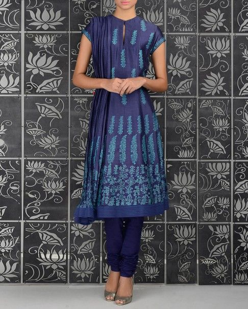 Dusk blue anarkali kurta with block printed motifs all over. Key hole neckline with one potli button. Short sleeves. Pin tucks adorn the hemline. Matching churidar leggings and crinkled printed dupatta included Wash Care: Dry clean onlyClosure: Zip at side