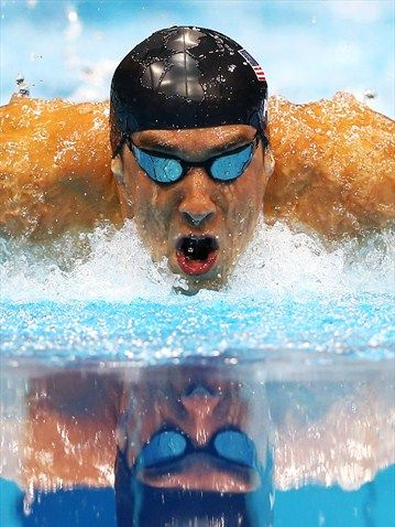 Michael Phelps, the winner of more Olympic medals than any other Olympian, London Olympics 2012. Much respect.