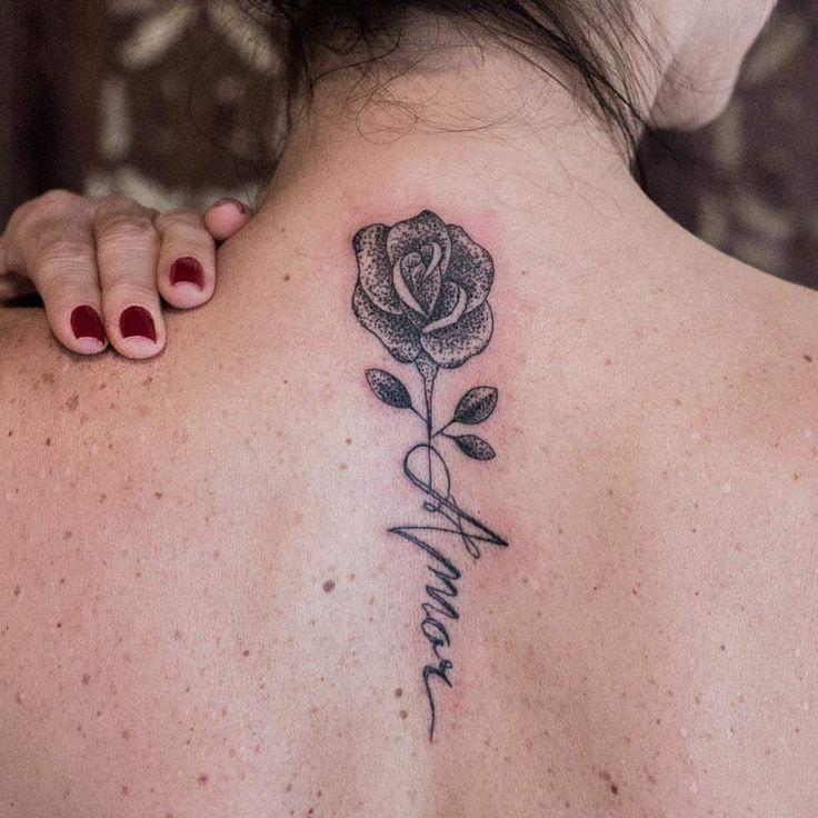 cute rose dotwork tattoo with name