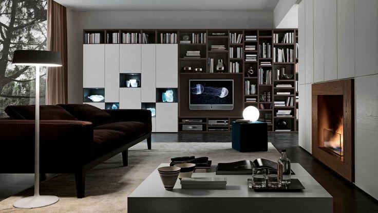 Pari&Dispari knihovna bílá/hnědá / furniture system of shelves