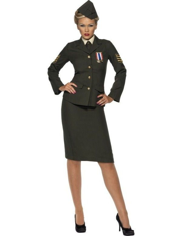WWII 1940s Wartime Officer Uniform Suit Women's British Army Fancy Dress Costume