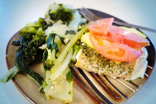 Pineapple-and Tomato-Roasted Salmon and Broccoli-Bok Choy Sauté # ...
