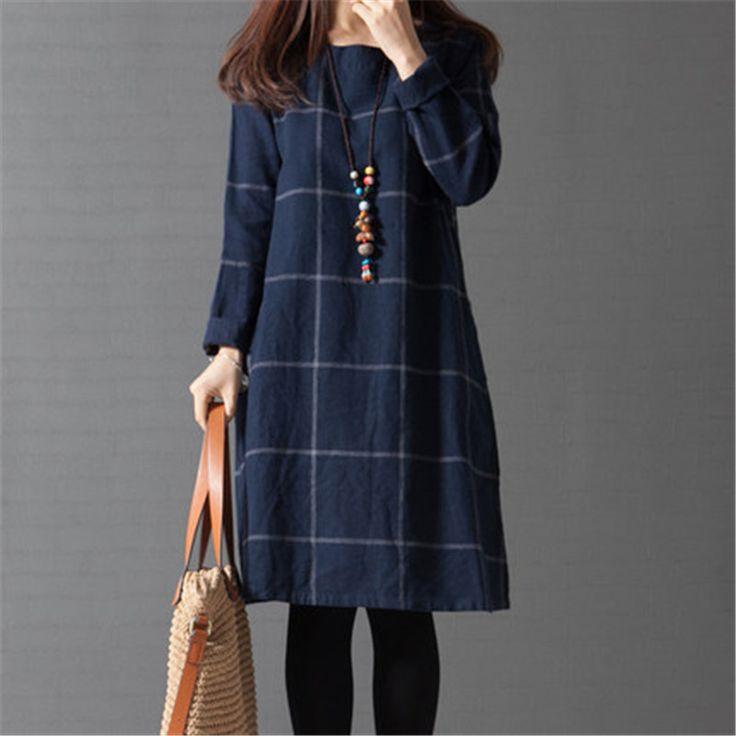 New arrival Plus Size Long Sleeve plaid Loose Cotton Linen Women | KIMLUDCOM