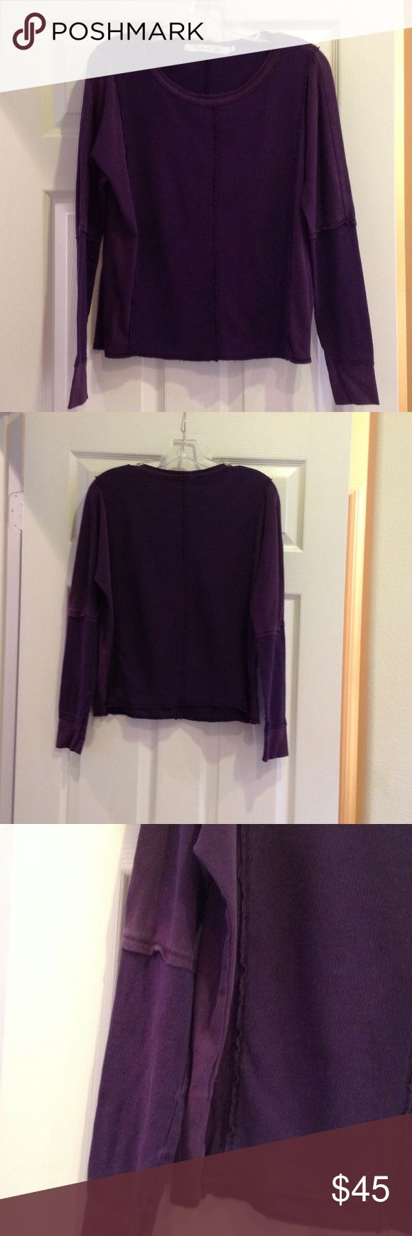 Michael Stars long-sleeved purple top. Size OS. Michael Stars women's,  long-sleeved, purple top. 47.5% Suprima; 47.5% Modal; 5% Spandex. Ribbing at neck and bottom of sleeves. OS fits most. Will fit size L. Michael Stars Tops Tees - Long Sleeve