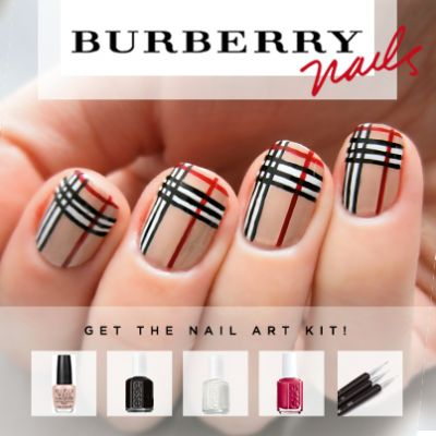 Check out this beautiful Burberry inspired nail art kit. All in one kit to get this #DIY insta mani!