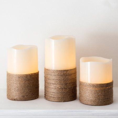 Set Of 3 Portmellon Battery Candles