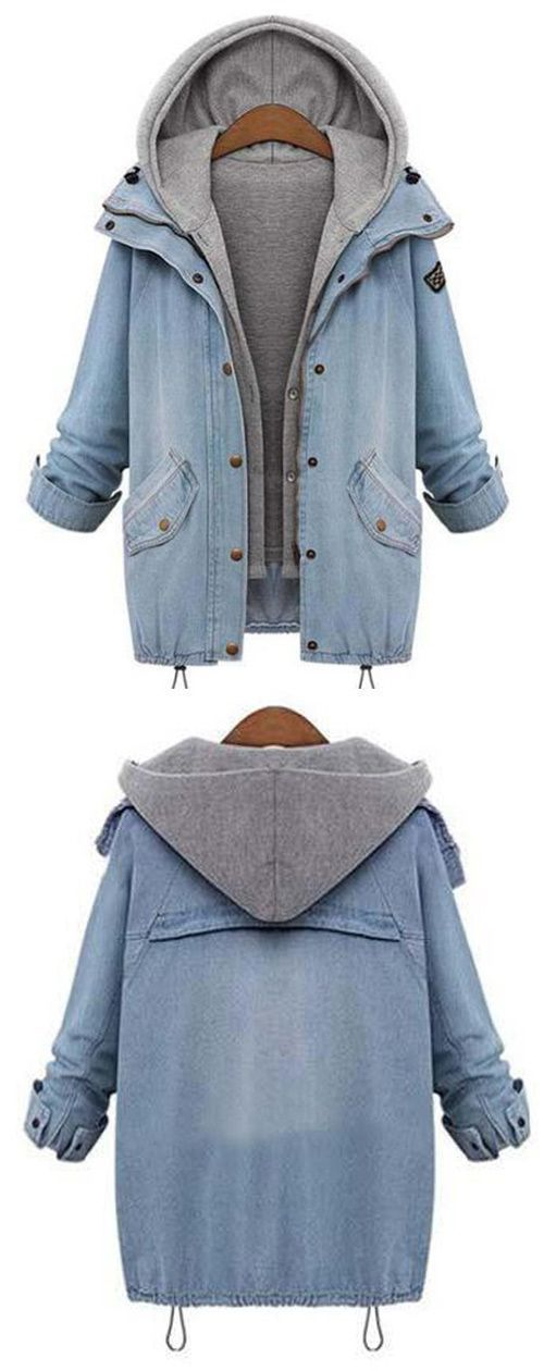 Amazing, $47.99 Now~ Free Shipping! Outfits can be polished and super stylish as you image. Featuring Raglan sleeve and Zipper & Button at front, this denim two-piece coat should be a part of your world!