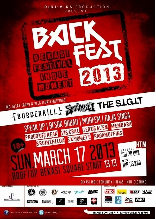 Back Fest 2013 Sunday, 17 March at  at Rooftop Bekasi Square