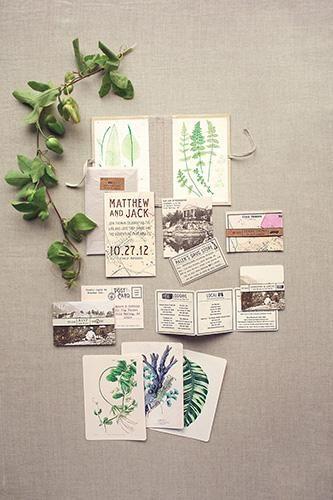 inspiration | modern botanical wedding invitation suite | via: refinery 29