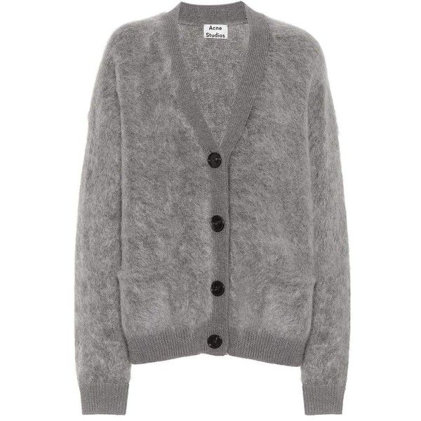 Acne Studios Rives Mohair Cardigan ($590) ❤ liked on Polyvore featuring tops, cardigans, outerwear, grey, cardigan top, acne studios, mohair cardigans, gray cardigan and grey top