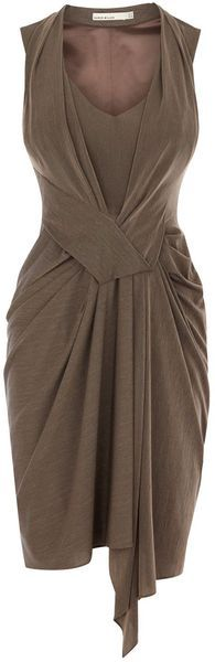 Karen Millen Very Draped Jersey Dress in Brown (bronze) - Lyst