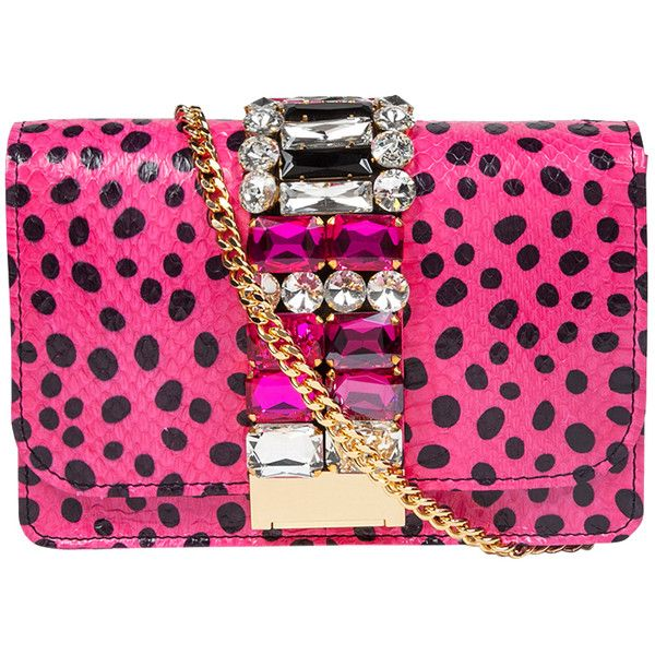 Gedebe Snake Skin & Polka Dot Print Clutch Bag (€650) ❤ liked on Polyvore featuring bags, handbags, clutches, purses, bolsas, pink polka dots, the label monster, man bag, pink purse and polka dot handbags