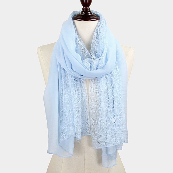 Swiss Lace Cotton Scarf in French Blue | Women's Clothes, Casual Dresses, Fashion Earrings & Accessories | Emma Stine Limited