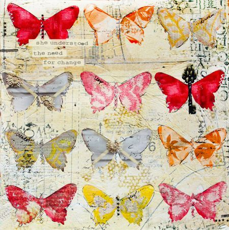 """""""She understood the need for change"""" - mixed media butterfly canvas by Christy Tomlinson #art #crafts"""
