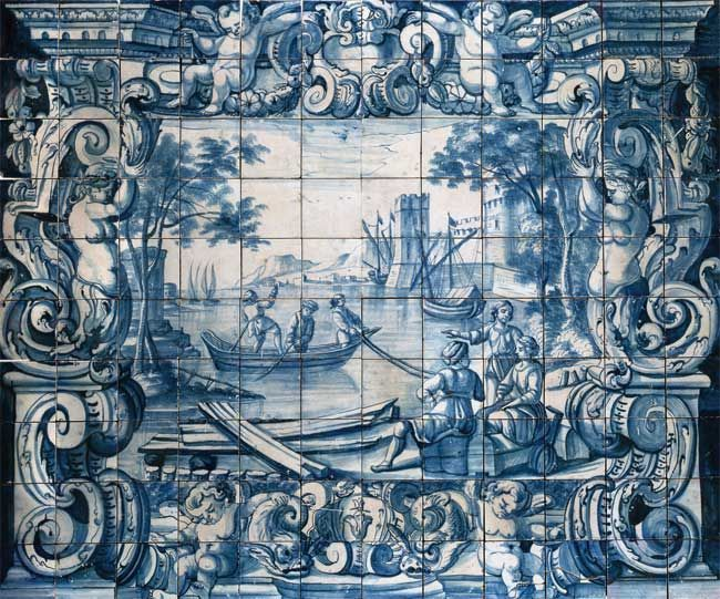 Portuguese Traditional Tiles azulejos, glazed ceramic tiles that were fashioned into narrative scenes.