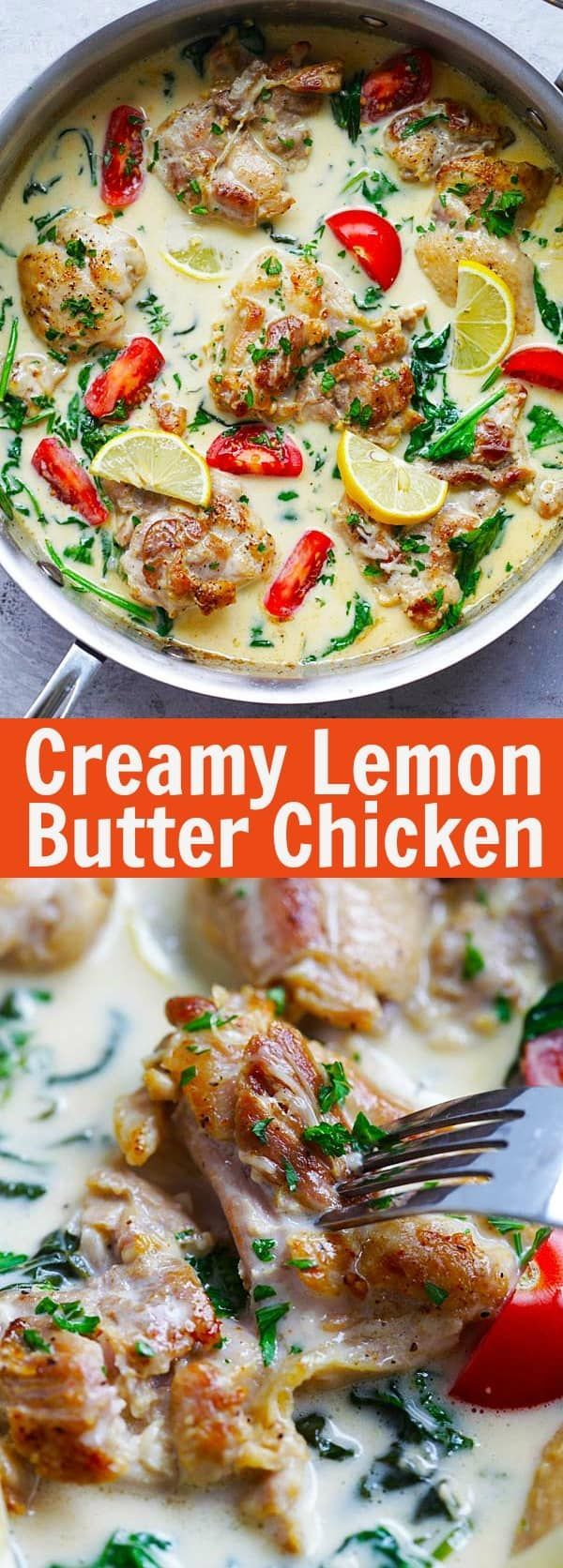 Lemon Butter Chicken - juicy and moist pan-fried chicken in a super creamy, lemony and cheesy white sauce, with spinach and tomatoes | rasamalaysia.com #foodrecipe