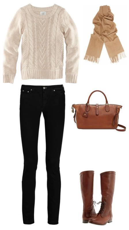 PERFECT fall outfit! All the essentials: cable knit sweater, dark skinnies, neutral no-fuss accessories