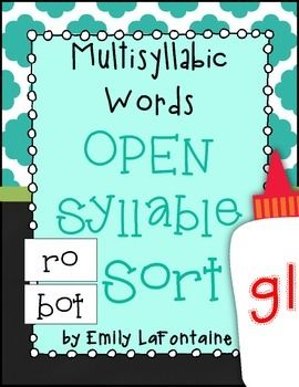 **FREEBIE!** Attached is a multisyllabic words with open syllables sort. This document includes a word list, sorting mat, and extra freebie word list for students who need reinforcement.