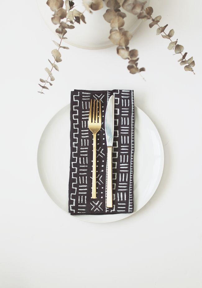 DIY mud cloth napkins