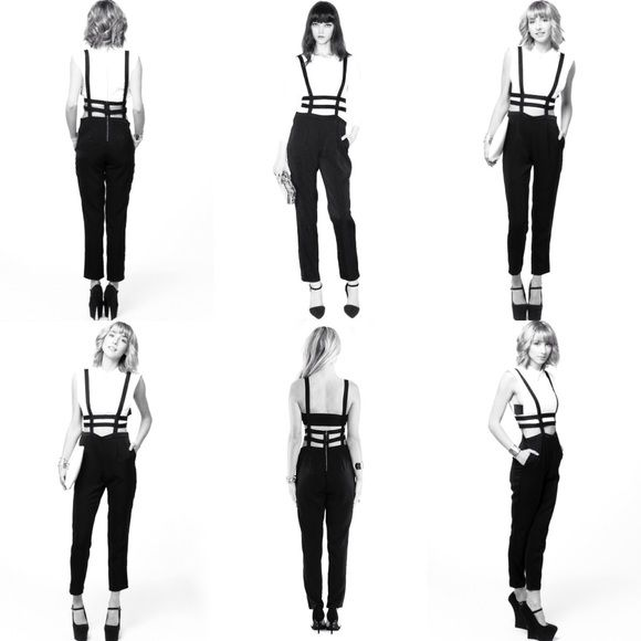 tobi black caged suspender jumpsuit ~as seen on refinery29~     this jumpsuit is hot af it is what in my dreams a 50-50 mix between Olivia Wilde and Naya Rivera would be wearing at a party in Brooklyn and then I Kissed A Girl comes on and we start making out as a joke ~but then it becomes so real~   worn once to a party (and once in my dreams by fake Olivia Wilde). suspenders are stretchy, exposed zipper up the back. fits xs or s. Tobi Pants Jumpsuits & Rompers
