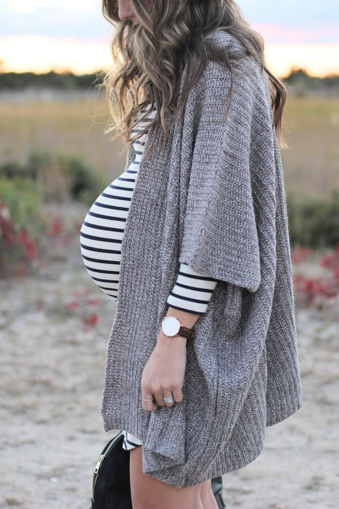 Maternity Style // Striped Dress with Cozy Cardigan and Clarks New Fall Line