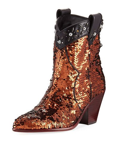dbdc12bd0a8 Coach Western Sequined Bootie   shoes forever   Booty, Cowgirl boots ...