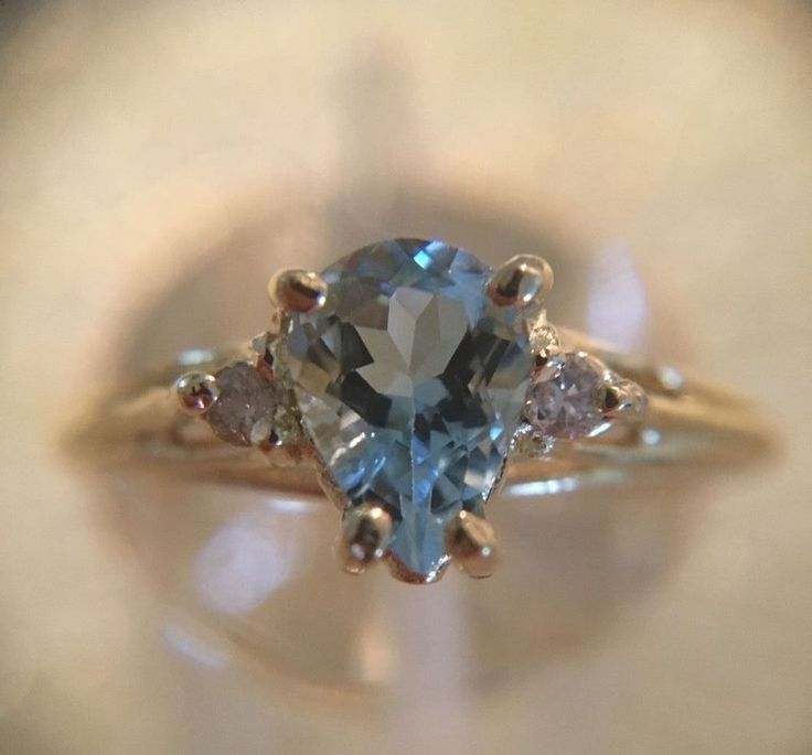 14k Yellow Gold Genuine Pear Shaped Faceted Aquamarine 2 Diamonds Ring Size 5.25 #unknown #Friendship #everyday