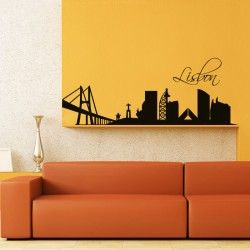 "Lisbon City Wall Decal  Lisbon is Portugal's hilly, coastal capital city. From imposing São Jorge Castle, the view encompasses the old city's pastel-colored buildings, Tagus Estuary and Ponte 25 de Abril suspension bridge. This high-class wall sticker is easily washable, removable and repositionable. It comes with free manual and it is easy to install.  SMALL :-- 24"" X 9"" MEDIUM :-- 48"" X 18"" LARGE :-- 63"" X 24"""