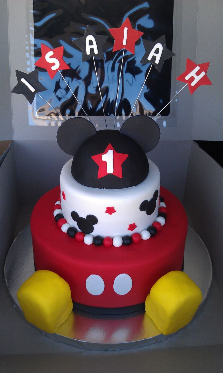 Mickey Mouse 1st birthday Cakes with shoes | Mickey Mouse 1st Birthday — First Birthday Cake...my nieces would love this!