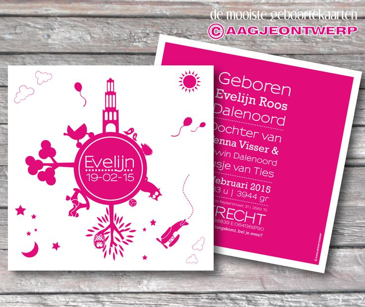 Geboortekaart wereldbol, Utrecht, domtoren, fuchsia, knal roze, simpel, letterpress, letterpers. Birth announcement world, skyline, simple. Aagjeontwerp.
