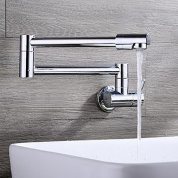 Wall Mounted Chrome One Hole Single Handle Contemporary Kitchen faucet  -- Faucetsmall.com
