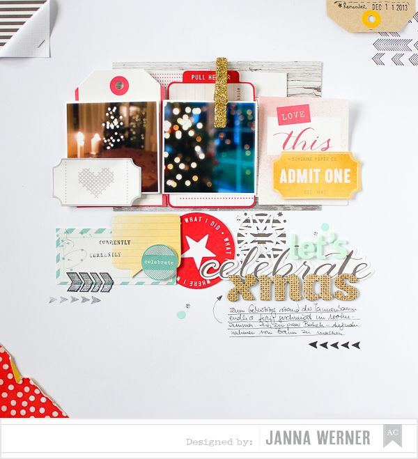 Christmas Scrapbooking Page for American Crafts, by Janna Werner