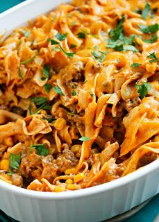 Enchilada Pasta Casserole Recipe (sub in low fat cheeses and whole wheat noodles)