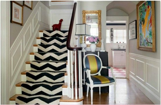 chevron stairs: Decor, Interior, Idea, Chevron Stairs, House, Stair Runners, Design, Entryway