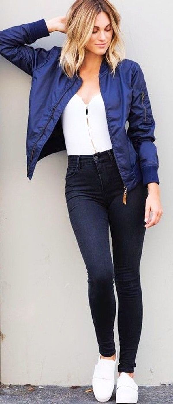 Fall Trending Outfits Navy Bomber Jacket Black And White Bomber Jacket Outfit Fall Trends Outfits Blue Jackets Outfits [ 1404 x 600 Pixel ]