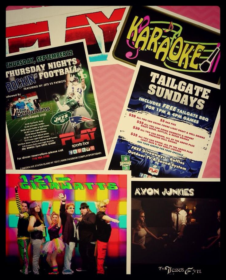 THIS WEEK UR Sports&UR Weekend PARTY is ALL at PLAY!! NO ONE beats Our OPEN BAR Tailgate SPECIALS!! Monday&Thursdays we add 30ct Wings 7-game time&NFL Jersey RAFFLE! THIS WEEK WE PARTY W/THE BENJAMIN'S THURS after the game!  TUESDAY& WED WE HAVE KARAOKE W/Jamie Jameson &Dawn Marie w/Flip a Coin Tuesday&Spin the Wheel Wednesdays w/our FABULOUS Staff for Free drinks&FUN Specials!!   FRIDAY it's our 80's BASH w/1.21 GIGAWATTS!  SATURDAY it's Avon Junkies  We're making ur Social Life WAY too…