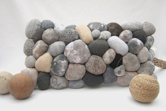 River Rock Lumbar Decorative Pillow Stone Paths Felt