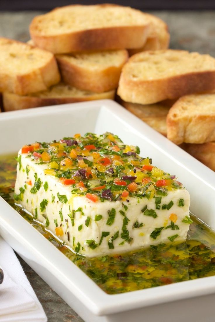 Fresh Herb-Marinated Feta - You won't believe how quickly you can create this lovely, flavorful Mediterranean-inspired appetizer.