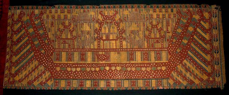 Palapai- tissu de cérémonie Paminggir Lampung - Indonésie Coton - Soie - fils Métalliques. Armure supplémentaire de trame. XIXe siècle ou plus tôt. Collection Georges BREGUET